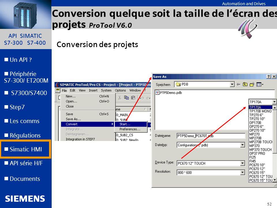API SIMATIC S7-300 S7-400 51 Automation and Drives Un API ? Step7 Périphérie S7-300/ ET200M Documents S7300/S7400 Simatic HMI API série H/F Les comms