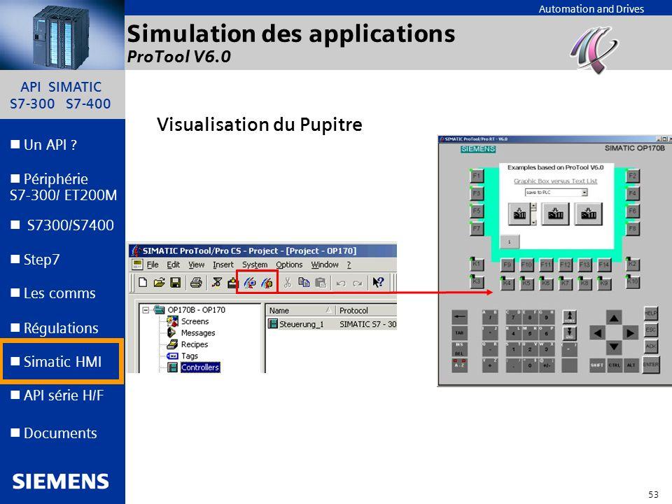 API SIMATIC S7-300 S7-400 52 Automation and Drives Un API ? Step7 Périphérie S7-300/ ET200M Documents S7300/S7400 Simatic HMI API série H/F Les comms