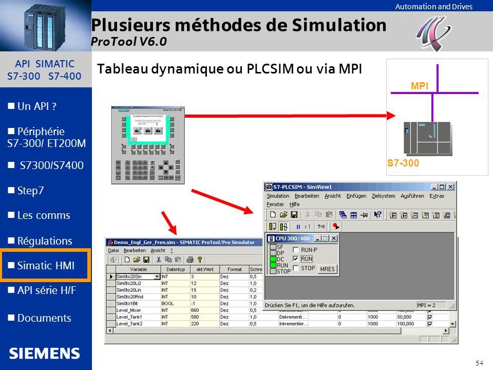 API SIMATIC S7-300 S7-400 53 Automation and Drives Un API ? Step7 Périphérie S7-300/ ET200M Documents S7300/S7400 Simatic HMI API série H/F Les comms