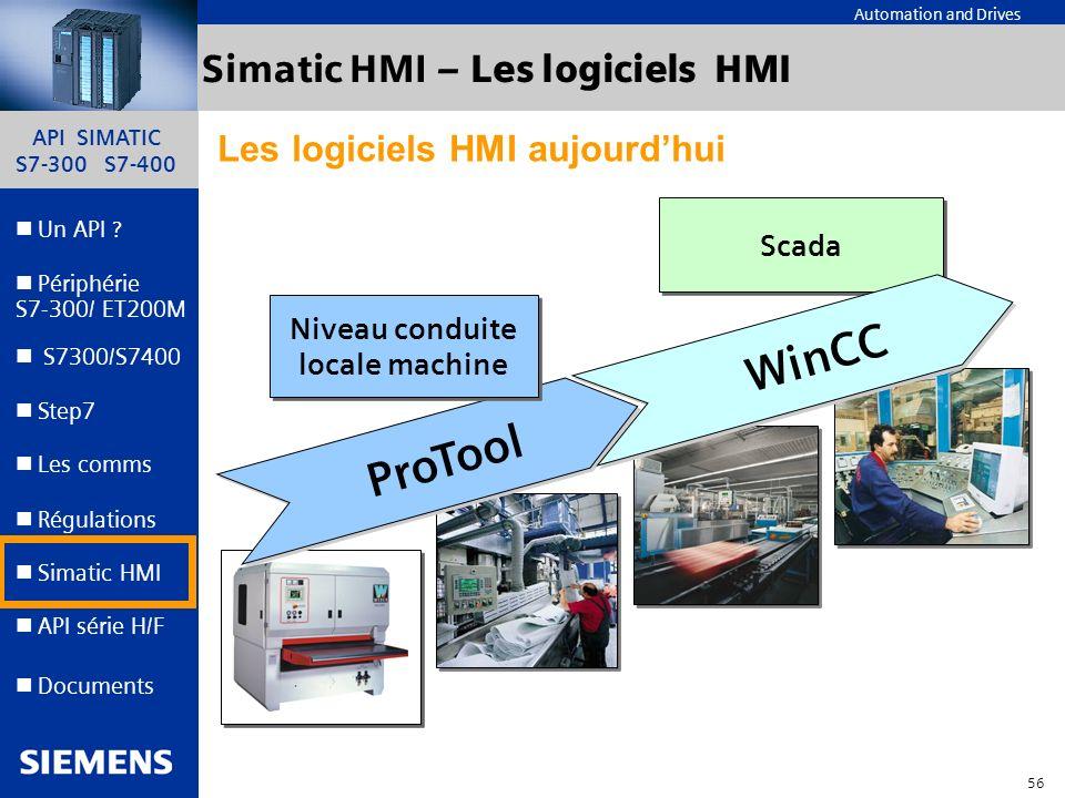 API SIMATIC S7-300 S7-400 55 Automation and Drives Un API ? Step7 Périphérie S7-300/ ET200M Documents S7300/S7400 Simatic HMI API série H/F Les comms