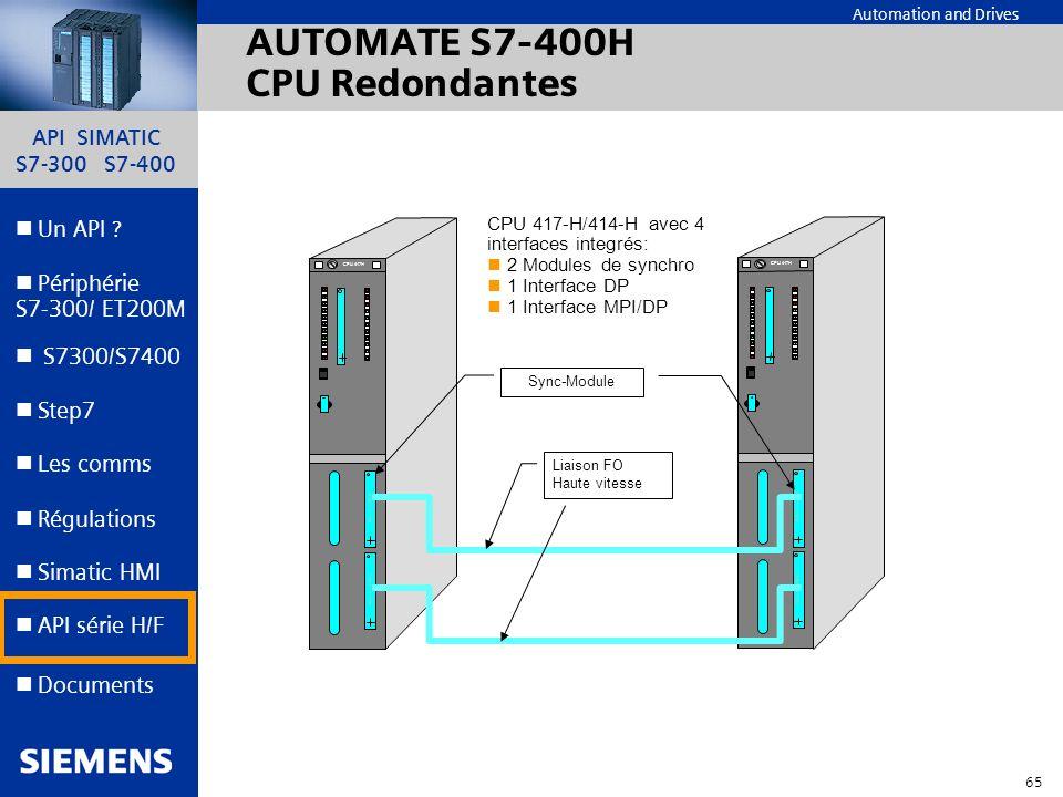API SIMATIC S7-300 S7-400 64 Automation and Drives Un API ? Step7 Périphérie S7-300/ ET200M Documents S7300/S7400 Simatic HMI API série H/F Les comms