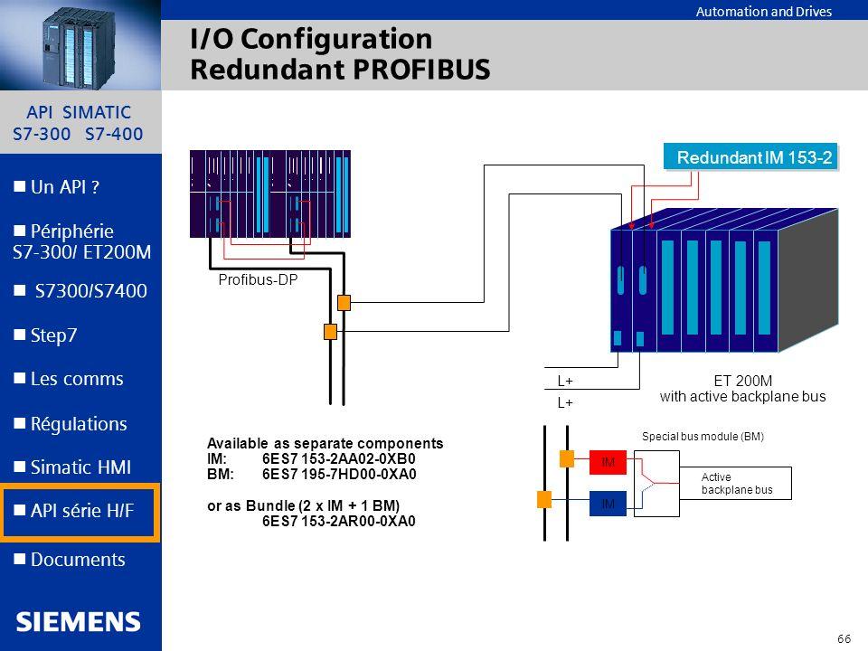 API SIMATIC S7-300 S7-400 65 Automation and Drives Un API ? Step7 Périphérie S7-300/ ET200M Documents S7300/S7400 Simatic HMI API série H/F Les comms