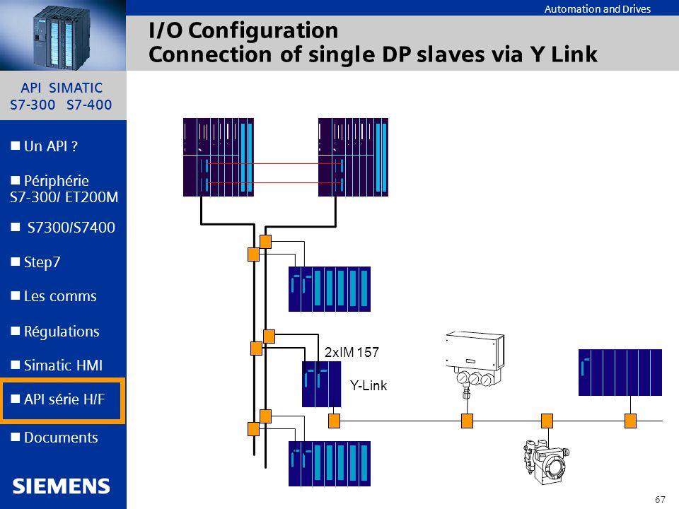 API SIMATIC S7-300 S7-400 66 Automation and Drives Un API ? Step7 Périphérie S7-300/ ET200M Documents S7300/S7400 Simatic HMI API série H/F Les comms