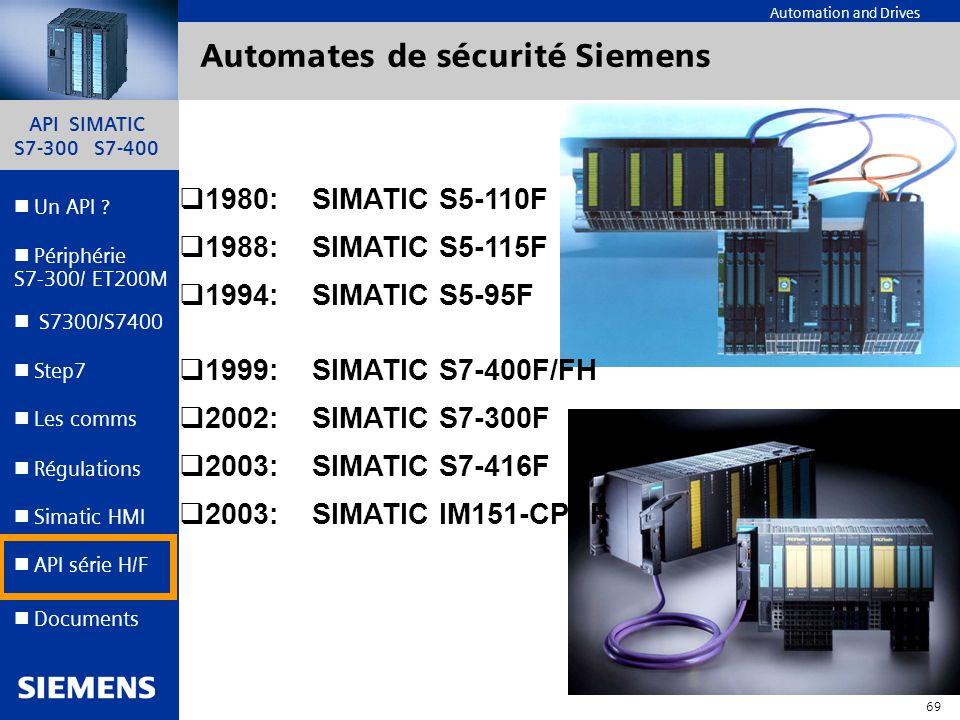 API SIMATIC S7-300 S7-400 68 Automation and Drives Un API ? Step7 Périphérie S7-300/ ET200M Documents S7300/S7400 Simatic HMI API série H/F Les comms