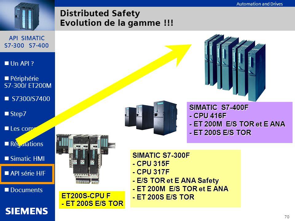 API SIMATIC S7-300 S7-400 69 Automation and Drives Un API ? Step7 Périphérie S7-300/ ET200M Documents S7300/S7400 Simatic HMI API série H/F Les comms