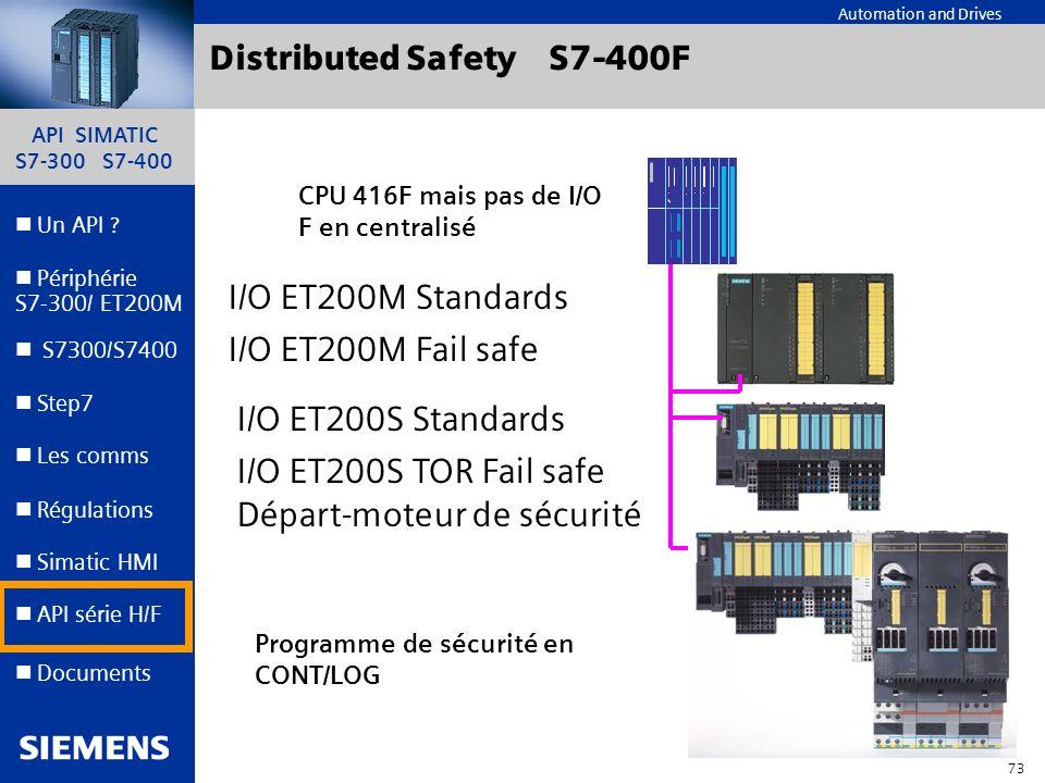 API SIMATIC S7-300 S7-400 72 Automation and Drives Un API ? Step7 Périphérie S7-300/ ET200M Documents S7300/S7400 Simatic HMI API série H/F Les comms