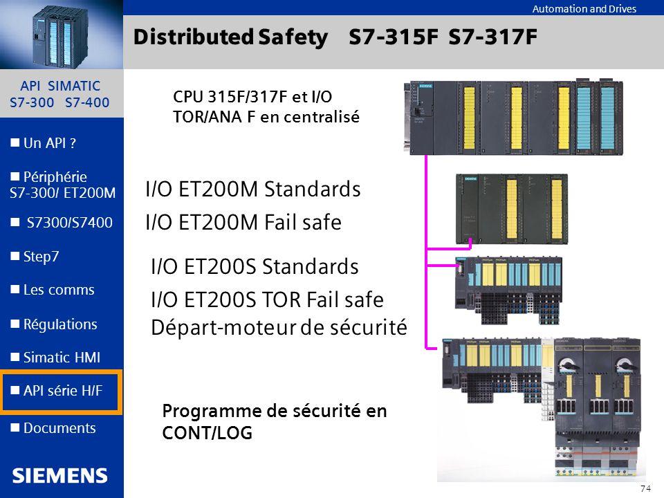 API SIMATIC S7-300 S7-400 73 Automation and Drives Un API ? Step7 Périphérie S7-300/ ET200M Documents S7300/S7400 Simatic HMI API série H/F Les comms