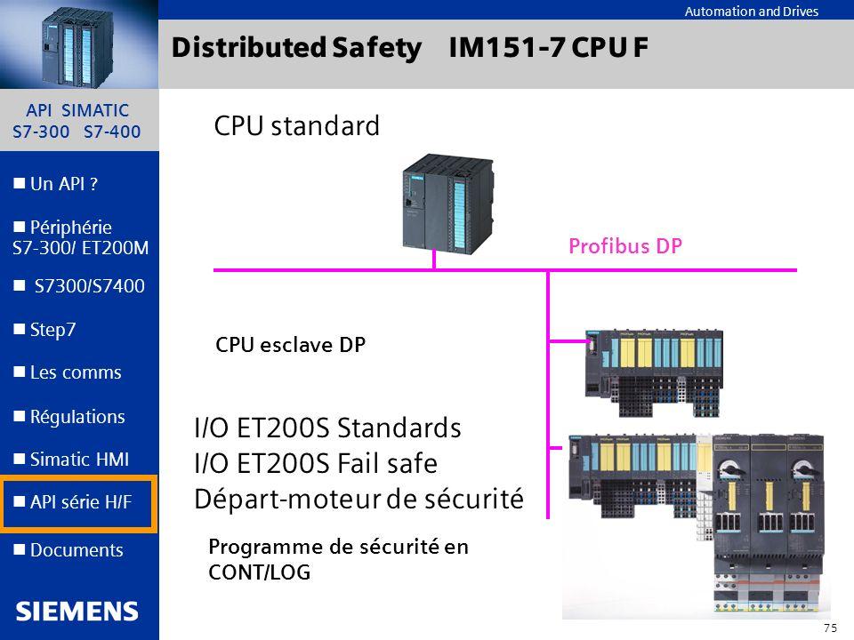 API SIMATIC S7-300 S7-400 74 Automation and Drives Un API ? Step7 Périphérie S7-300/ ET200M Documents S7300/S7400 Simatic HMI API série H/F Les comms