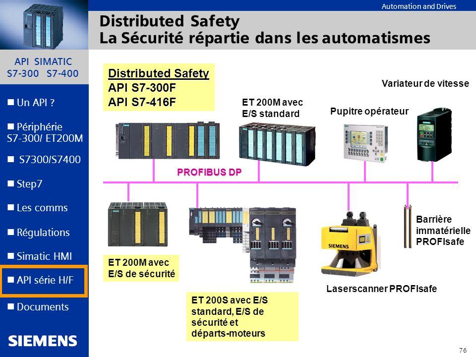 API SIMATIC S7-300 S7-400 75 Automation and Drives Un API ? Step7 Périphérie S7-300/ ET200M Documents S7300/S7400 Simatic HMI API série H/F Les comms