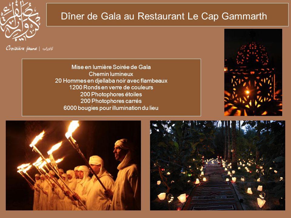 Dîner de Gala au Restaurant Le Cap Gammarth Mise en lumière Soirée de Gala Chemin lumineux 20 Hommes en djellaba noir avec flambeaux 1200 Ronds en ver