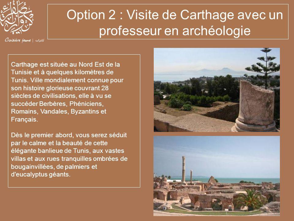 Carthage est située au Nord Est de la Tunisie et à quelques kilomètres de Tunis. Ville mondialement connue pour son histoire glorieuse couvrant 28 siè