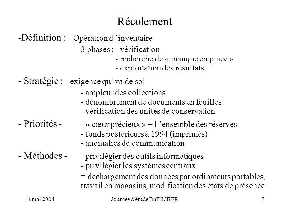 14 mai 2004Journée d étude BnF/LIBER7 Récolement - Définition : - Opération d inventaire 3 phases :- vérification - recherche de « manque en place » - exploitation des résultats - Stratégie : - exigence qui va de soi - ampleur des collections - dénombrement de documents en feuilles - vérification des unités de conservation - Priorités - - « cœur précieux » = l ensemble des réserves - fonds postérieurs à 1994 (imprimés) - anomalies de communication - Méthodes - - privilégier des outils informatiques - privilégier les systèmes centraux = déchargement des données par ordinateurs portables, travail en magasins, modification des états de présence