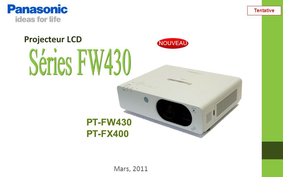 Tentative Comparaison Concurrents (PT-FW430/WXGA) Panasonic PT- FW430NEC NP3250WEPSON EB-1925W Appareil 3LCD (Panneaux LCD Inorganiques, Polariseurs Inorganiques) 3LCD Luminosité 3,500 lm4,000 lm Fiabilité/ Stabilité Cycle de remplacement de la lampe 6,000 heures 2,000 heures / 3,000 heures (Normal/Eco) 2,500 heures / 3,500 heures (Normal/Eco) Design résistant à la poussière OuiNon Filtre Air 12,000 heures (Filtre Eco) 500 heuresn/a Fonction de base Daylight View Premium OuiNon Mode Eco Mode Eco ManagementNon Consommation électrique en mode veille 0.4 W / 9 W26 W0.2W / 5.5W Installation Réglage optique Verticale / Horizontale Oui Non Zoom Zoom optique x2Zoom optique x1.3Zoom optique x1.6 Fonction sans-fil OptionnelOuiOptionnel Ports Entrée Digital HDMI / DVIDVIHDMI Câble LAN Oui