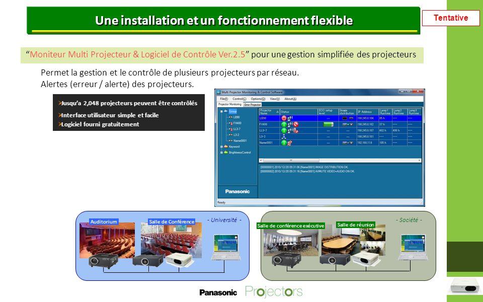 Tentative Une installation et un fonctionnement flexible Moniteur Multi Projecteur & Logiciel de Contrôle Ver.2.5 pour une gestion simplifiée des projecteurs Permet la gestion et le contrôle de plusieurs projecteurs par réseau.