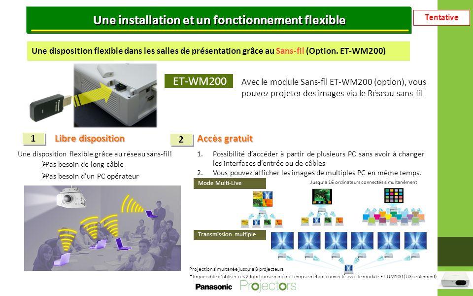 Tentative Une installation et un fonctionnement flexible ET-WM200 Avec le module Sans-fil ET-WM200 (option), vous pouvez projeter des images via le Réseau sans-fil Libre disposition 1 Accès gratuit 2 Une disposition flexible dans les salles de présentation grâce au Sans-fil (Option.