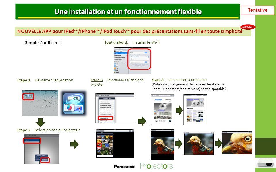 Tentative Une installation et un fonctionnement flexible NOUVELLE APP pour iPad/iPhone/iPod Touch pour des présentations sans-fil en toute simplicité Simple à utiliser .