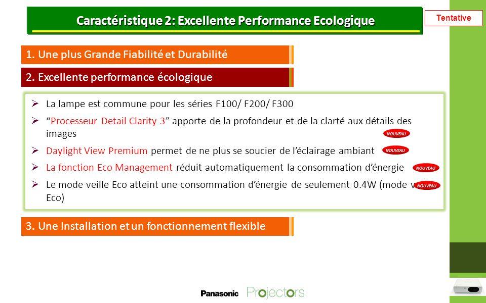 Tentative Caractéristique 2: Excellente Performance Ecologique 1.