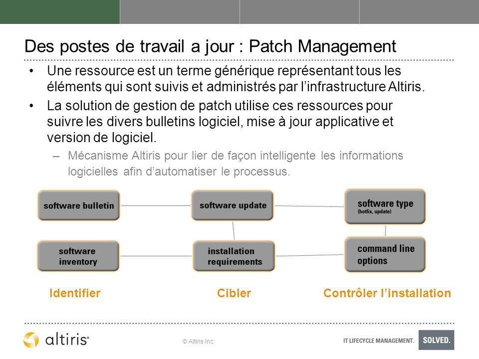 © Altiris Inc. Des postes de travail a jour : Patch Management Une ressource est un terme générique représentant tous les éléments qui sont suivis et