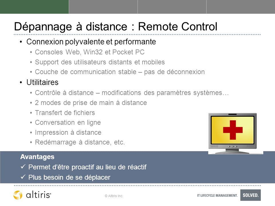 © Altiris Inc. Dépannage à distance : Remote Control Connexion polyvalente et performante Consoles Web, Win32 et Pocket PC Support des utilisateurs di