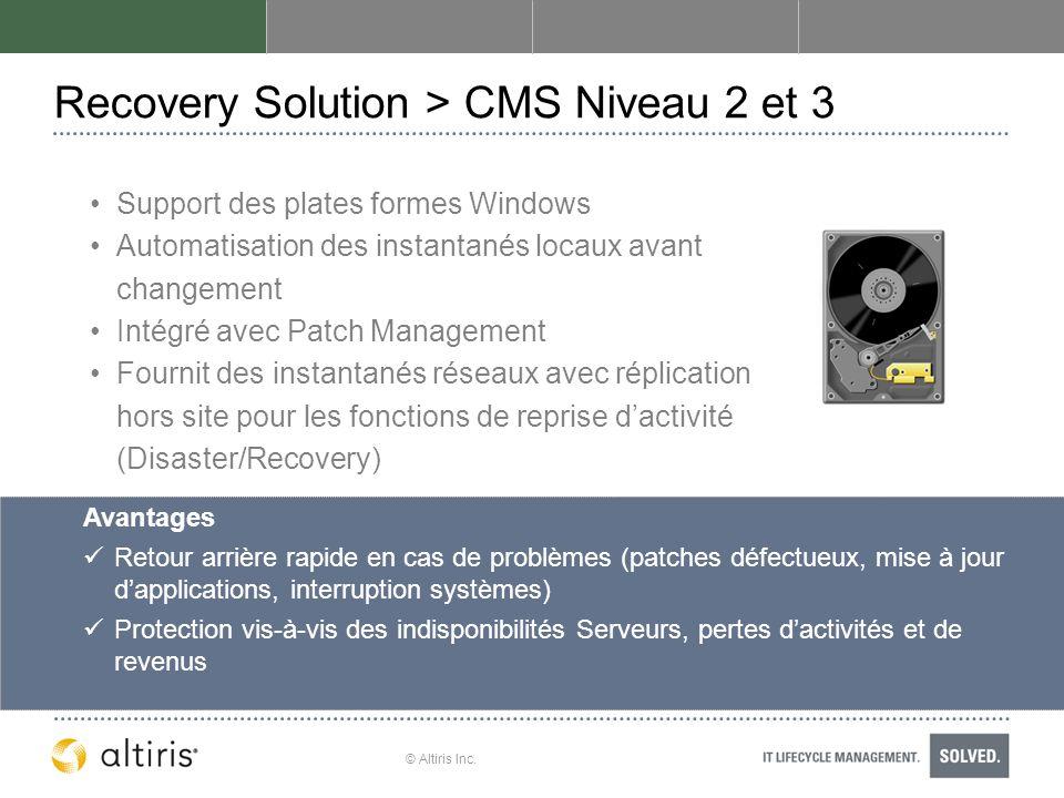 © Altiris Inc. Recovery Solution > CMS Niveau 2 et 3 Support des plates formes Windows Automatisation des instantanés locaux avant changement Intégré