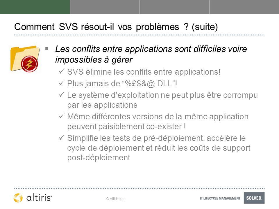 © Altiris Inc. Comment SVS résout-il vos problèmes ? (suite) Les conflits entre applications sont difficiles voire impossibles à gérer SVS élimine les