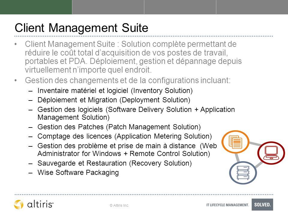© Altiris Inc. Client Management Suite Client Management Suite : Solution complète permettant de réduire le coût total dacquisition de vos postes de t