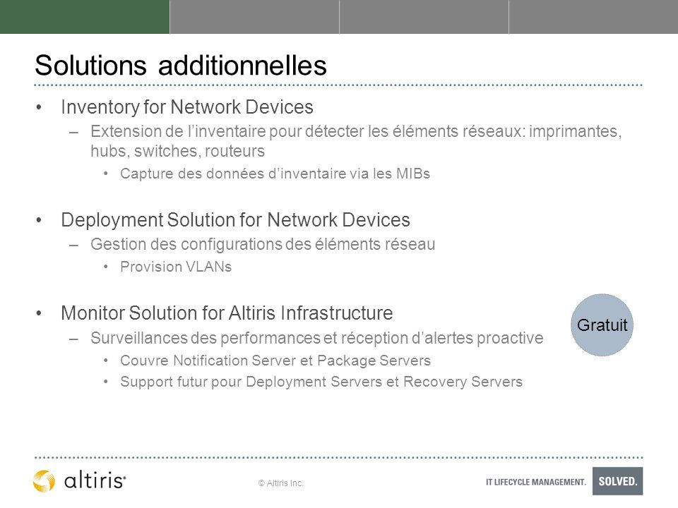© Altiris Inc. Solutions additionnelles Inventory for Network Devices –Extension de linventaire pour détecter les éléments réseaux: imprimantes, hubs,