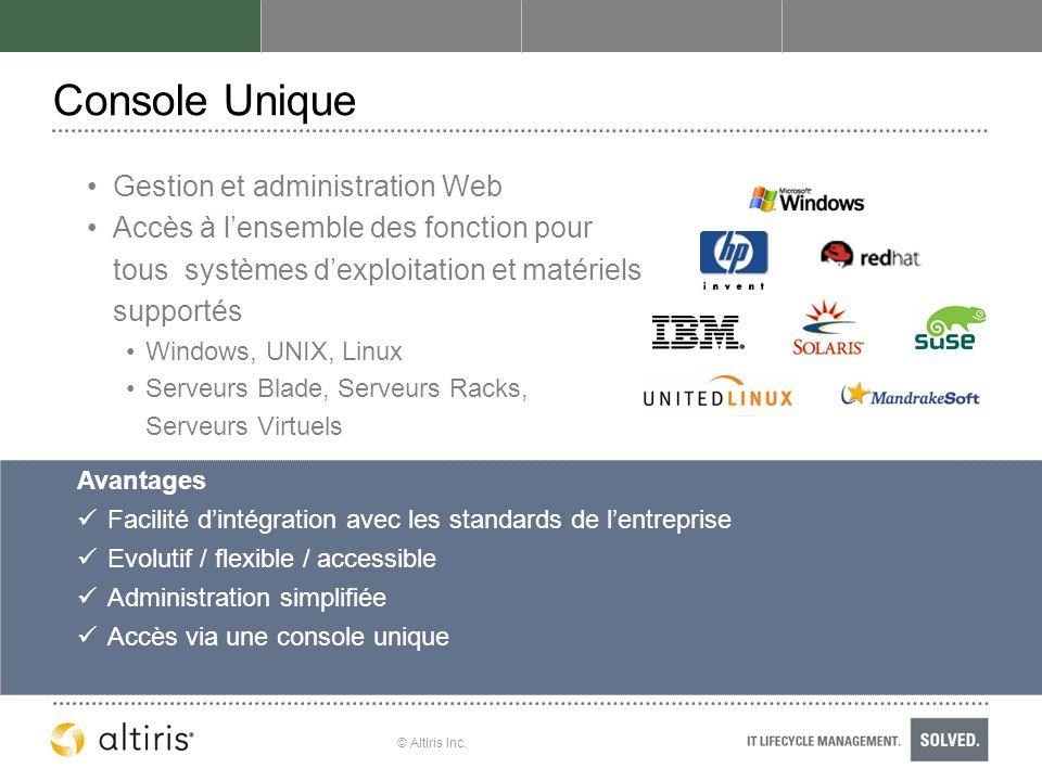 © Altiris Inc. Console Unique Gestion et administration Web Accès à lensemble des fonction pour tous systèmes dexploitation et matériels supportés Win