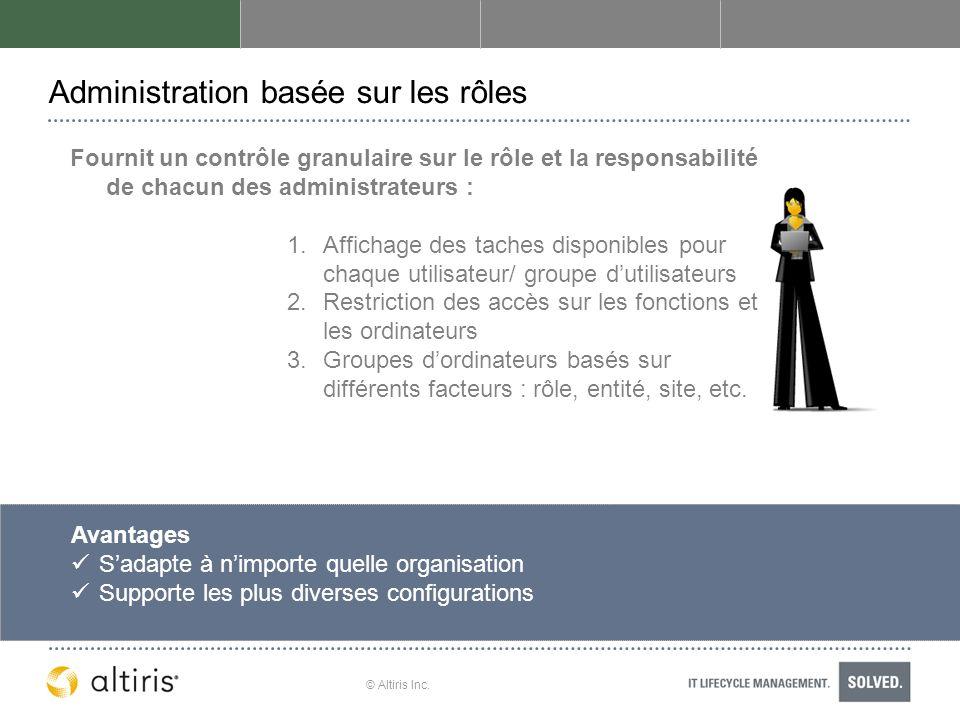© Altiris Inc. Administration basée sur les rôles Fournit un contrôle granulaire sur le rôle et la responsabilité de chacun des administrateurs : 1.Af