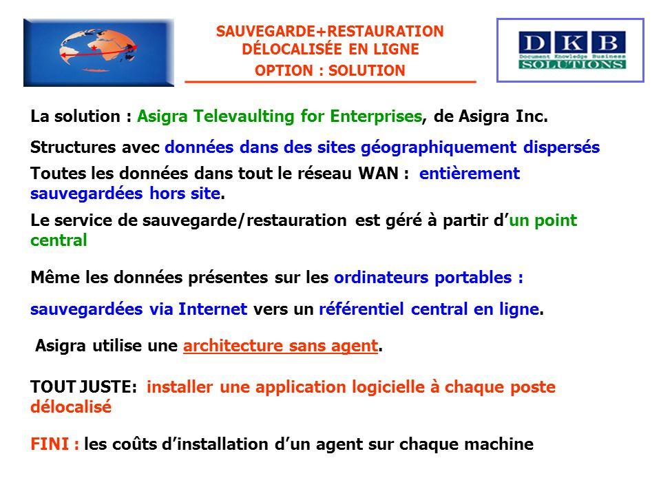 La solution : Asigra Televaulting for Enterprises, de Asigra Inc. Structures avec données dans des sites géographiquement dispersés Le service de sauv