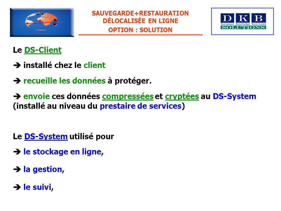 Le DS-Client Le DS-System utilisé pour installé chez le client recueille les données à protéger. envoie ces données compressées et cryptées au DS-Syst