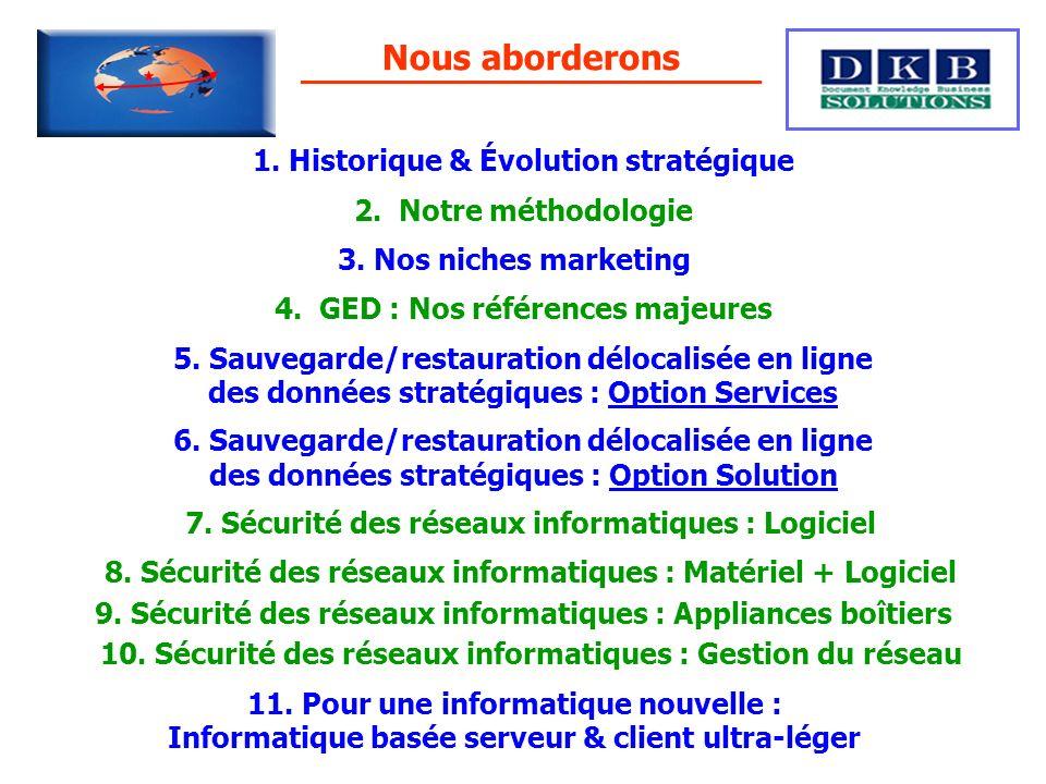 Nous aborderons 1. Historique & Évolution stratégique 2. Notre méthodologie 3. Nos niches marketing 4. GED : Nos références majeures 5. Sauvegarde/res