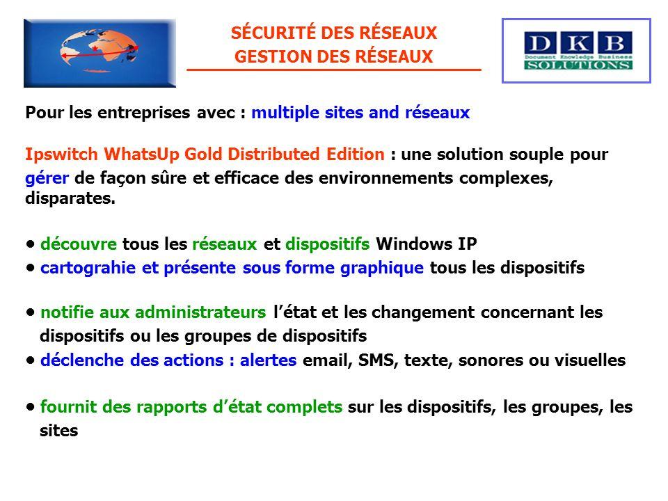 Pour les entreprises avec : multiple sites and réseaux Ipswitch WhatsUp Gold Distributed Edition : une solution souple pour gérer de façon sûre et eff