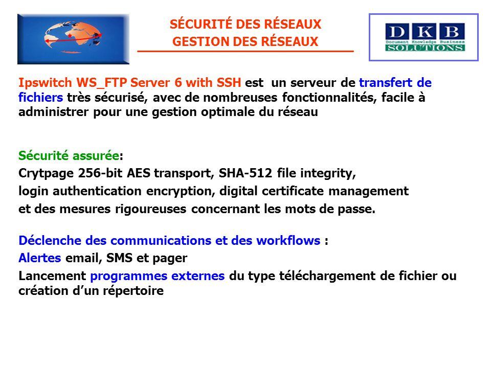Ipswitch WS_FTP Server 6 with SSH est un serveur de transfert de fichiers très sécurisé, avec de nombreuses fonctionnalités, facile à administrer pour