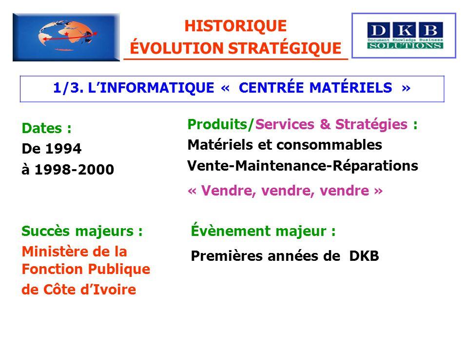 HISTORIQUE ÉVOLUTION STRATÉGIQUE 1/3. LINFORMATIQUE « CENTRÉE MATÉRIELS » Dates : De 1994 à 1998-2000 Produits/Services & Stratégies : Matériels et co