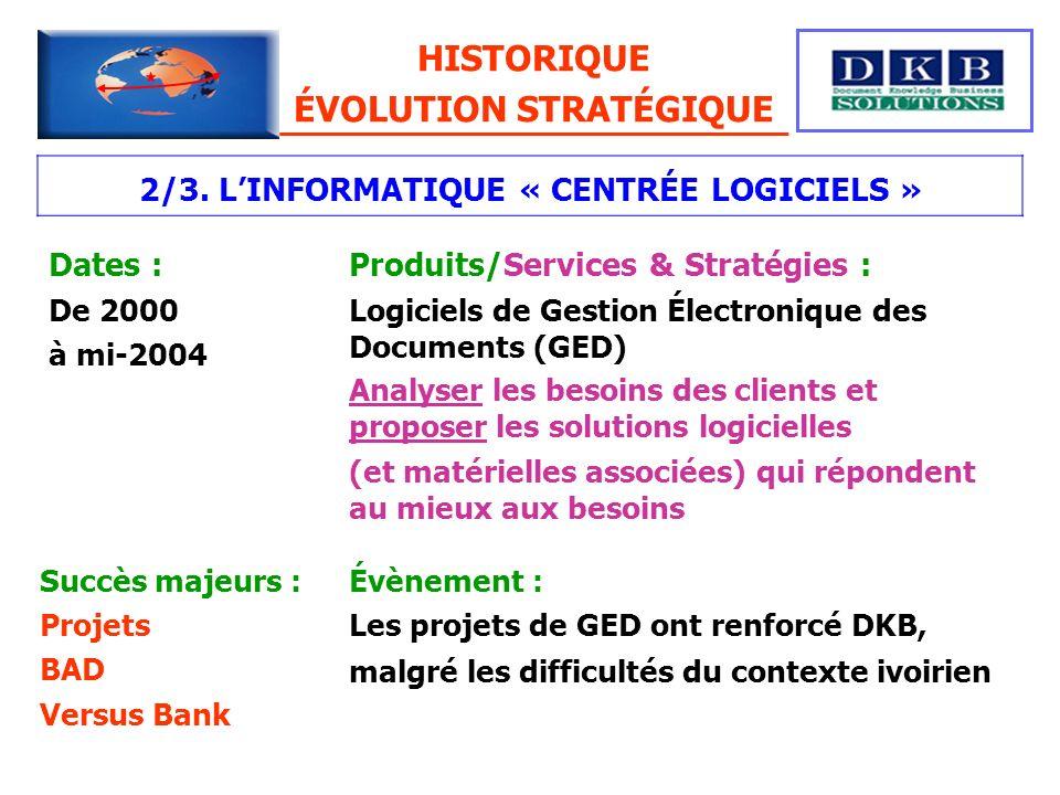2/3. LINFORMATIQUE « CENTRÉE LOGICIELS » Dates : De 2000 à mi-2004 Produits/Services & Stratégies : Logiciels de Gestion Électronique des Documents (G