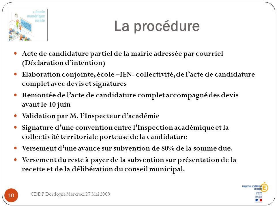 La procédure Acte de candidature partiel de la mairie adressée par courriel (Déclaration dintention) Elaboration conjointe, école –IEN- collectivité,