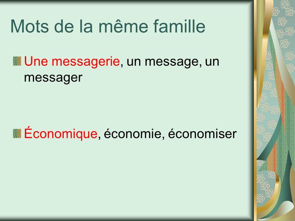 Mots de la même famille Une messagerie, un message, un messager Économique, économie, économiser