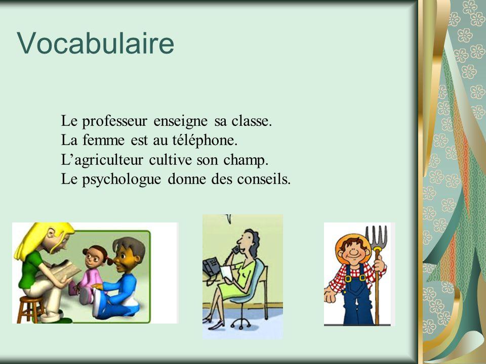 Vocabulaire Le professeur enseigne sa classe. La femme est au téléphone. Lagriculteur cultive son champ. Le psychologue donne des conseils.
