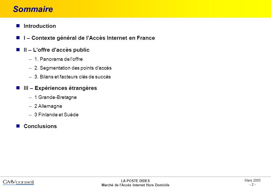 LA POSTE DIDES Marché de l'Accès Internet Hors Domicile Mars 2005 - 2 - Sommaire Introduction I – Contexte général de l'Accès Internet en France II –