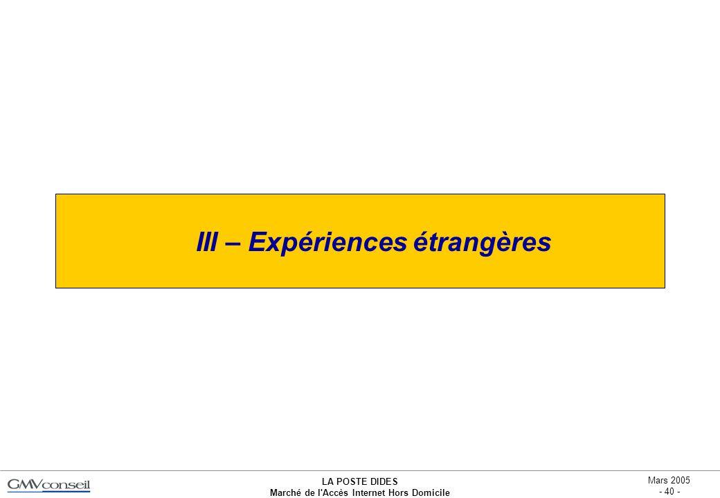 LA POSTE DIDES Marché de l'Accès Internet Hors Domicile Mars 2005 - 40 - III – Expériences étrangères