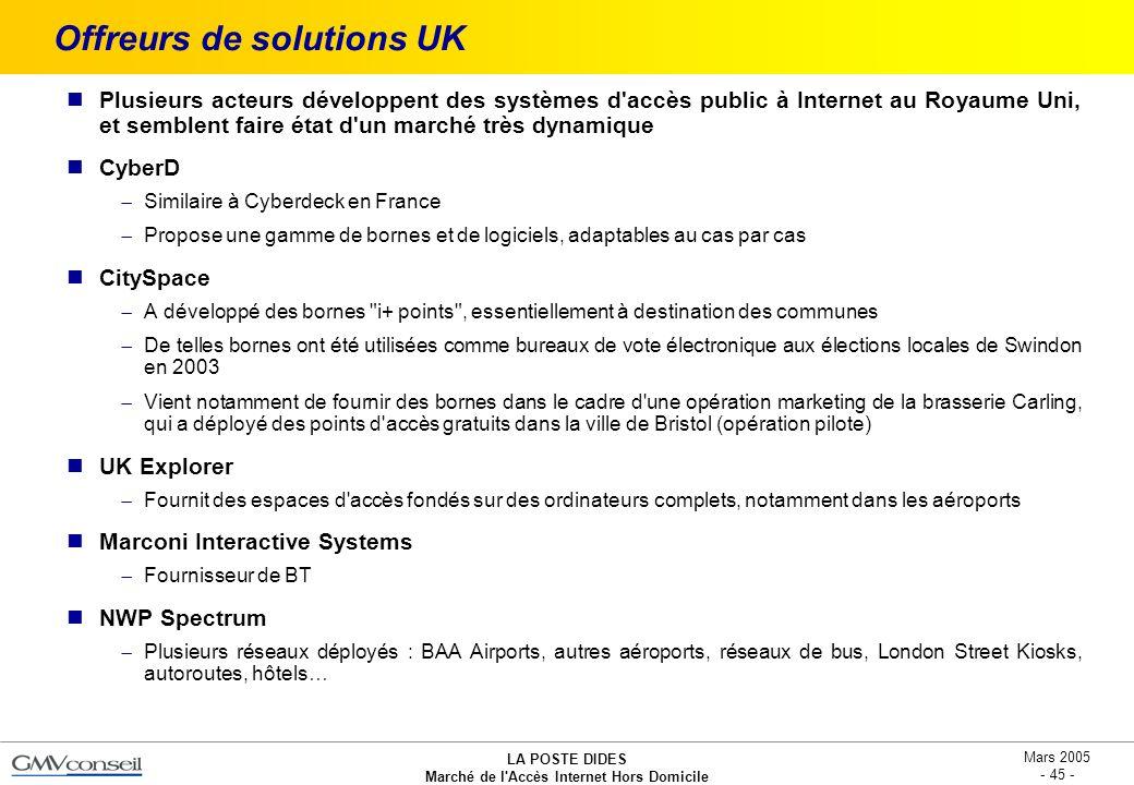 LA POSTE DIDES Marché de l'Accès Internet Hors Domicile Mars 2005 - 45 - Offreurs de solutions UK Plusieurs acteurs développent des systèmes d'accès p