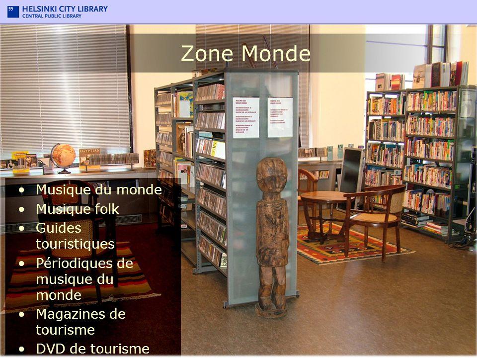 Zone Monde Musique du monde Musique folk Guides touristiques Périodiques de musique du monde Magazines de tourisme DVD de tourisme