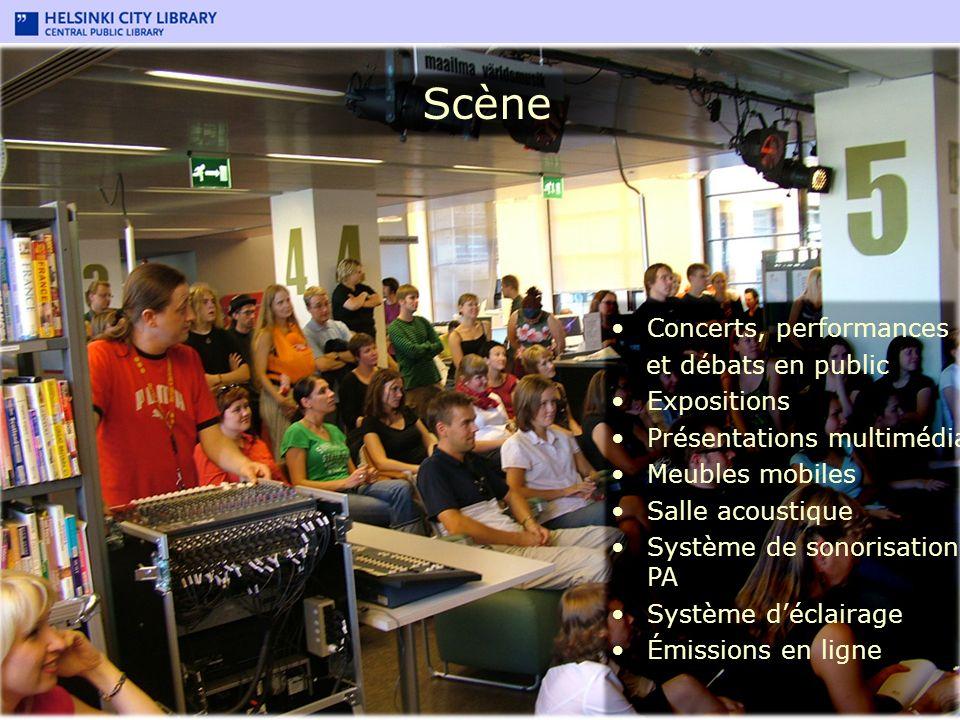 Scène Concerts, performances et débats en public Expositions Présentations multimédia Meubles mobiles Salle acoustique Système de sonorisation PA Syst