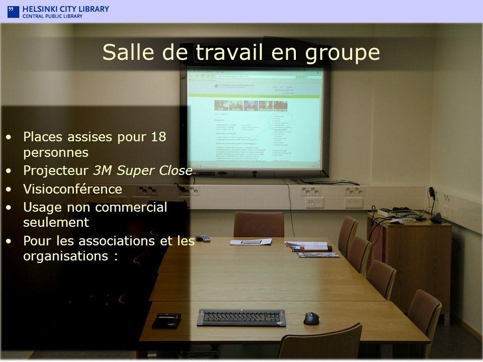 Salle de travail en groupe Places assises pour 18 personnes Projecteur 3M Super Close Visioconférence Usage non commercial seulement Pour les associat