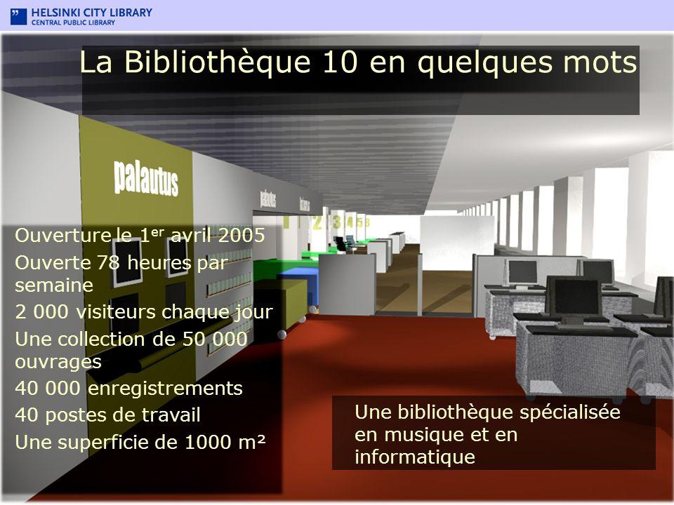 La Bibliothèque 10 en quelques mots Ouverture le 1 er avril 2005 Ouverte 78 heures par semaine 2 000 visiteurs chaque jour Une collection de 50 000 ou