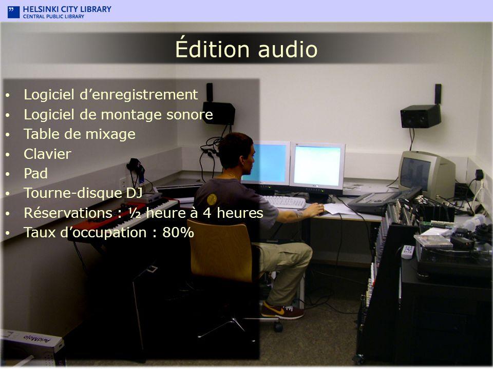 Édition audio Logiciel denregistrement Logiciel de montage sonore Table de mixage Clavier Pad Tourne-disque DJ Réservations : ½ heure à 4 heures Taux