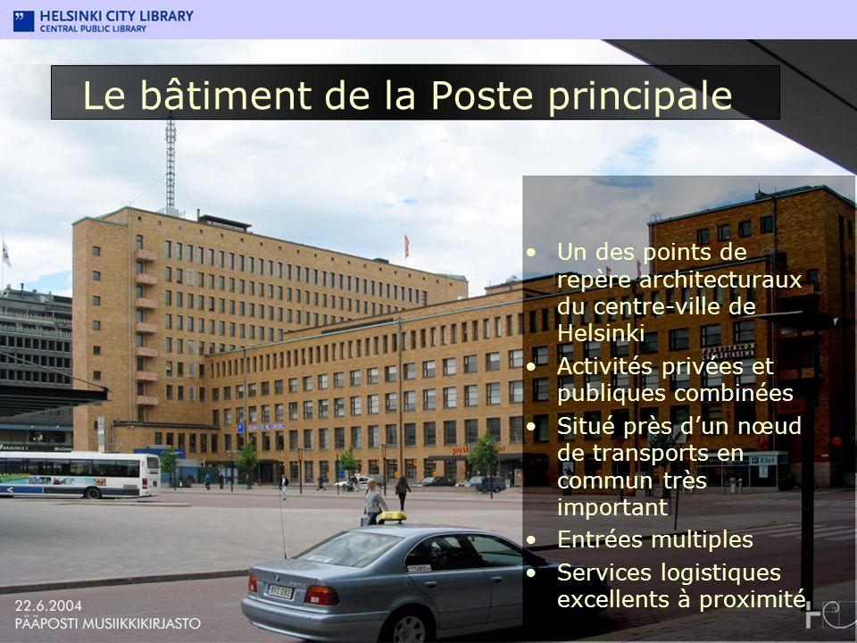 Le bâtiment de la Poste principale Un des points de repère architecturaux du centre-ville de Helsinki Activités privées et publiques combinées Situé p
