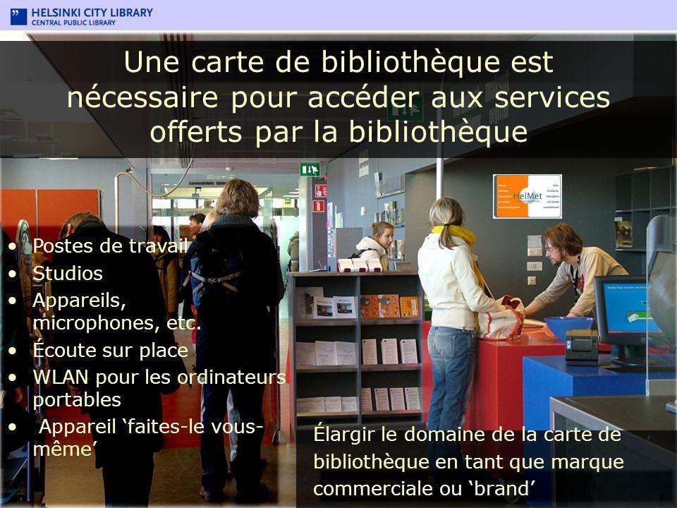 Une carte de bibliothèque est nécessaire pour accéder aux services offerts par la bibliothèque Postes de travail Studios Appareils, microphones, etc.