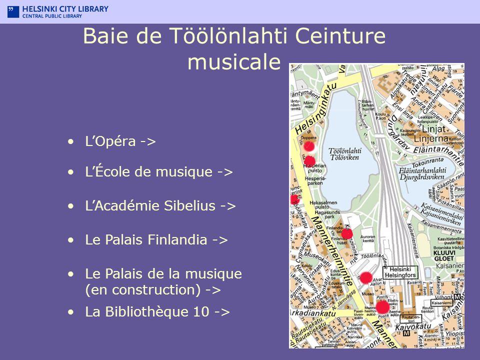 Baie de Töölönlahti Ceinture musicale Le Palais de la musique (en construction) -> La Bibliothèque 10 -> Le Palais Finlandia -> LAcadémie Sibelius ->
